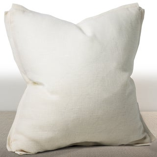 Dorian Ivory Linen 20-inch Luxury Down and Feather Filled Square Throw Pillow