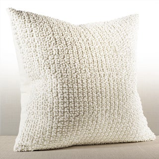 Chauran Nina Ivory Linen French Knot Down and Feather Filled 20-inch Pillow