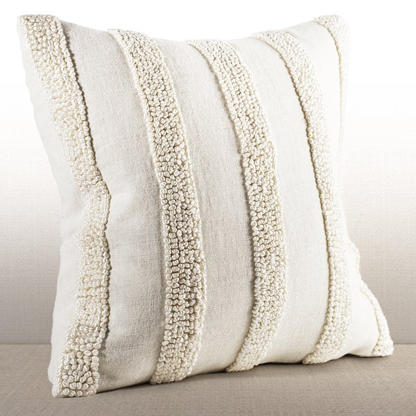 Nina Ivory Linen French Knot Down and Feather Filled 16-inch Throw Pillow