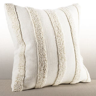 Chauran Nina Ivory Linen French Knot Down and Feather Filled 16-inch Throw Pillow