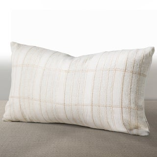 Cordova Ivory Linen/ Suede Down and Feather Filled Lumbar Pillow