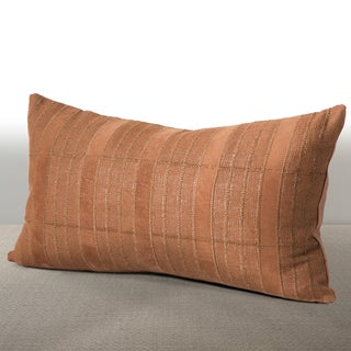 Cordova Cognac Linen/ Suede Down and Feather Lumbar Pillow