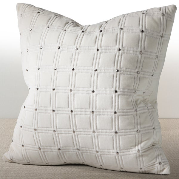 Meridian Ivory Velvet Feather and Down Filled 20-inch Luxury Pillow with Hand Applied Studs