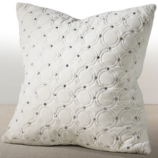 Meridian Ivory Velvet Down and Feather Filled 18-inch Luxury Pillow with Hand Applied Metal Studs