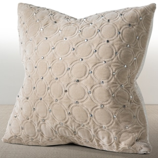 Meridian Sand Velvet 18-inch Luxury Pillow with Hand Applied Metal Studs