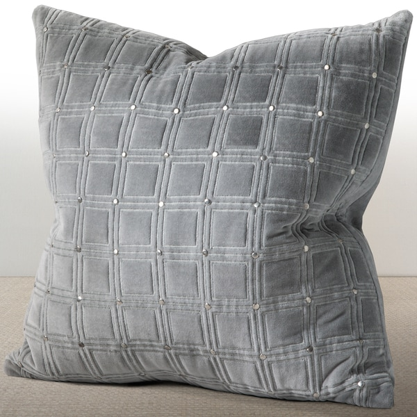 Meridian Mist Grey Velvet Down and Feather Filled 20-inch Luxury Pillow with Hand Applied Metal Studs