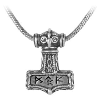 Antique English Pewter Bindrune Hammer Pendant