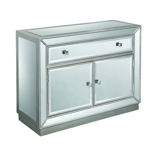 """Somette One Drawer Two Door Cabinet, Estaline Champagne and Mirror - 40""""L x 15.5""""W x 32""""H"""