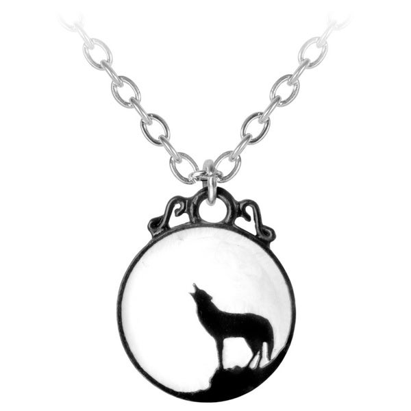 Black Pewter White Enamel Howling Wolf Pendant