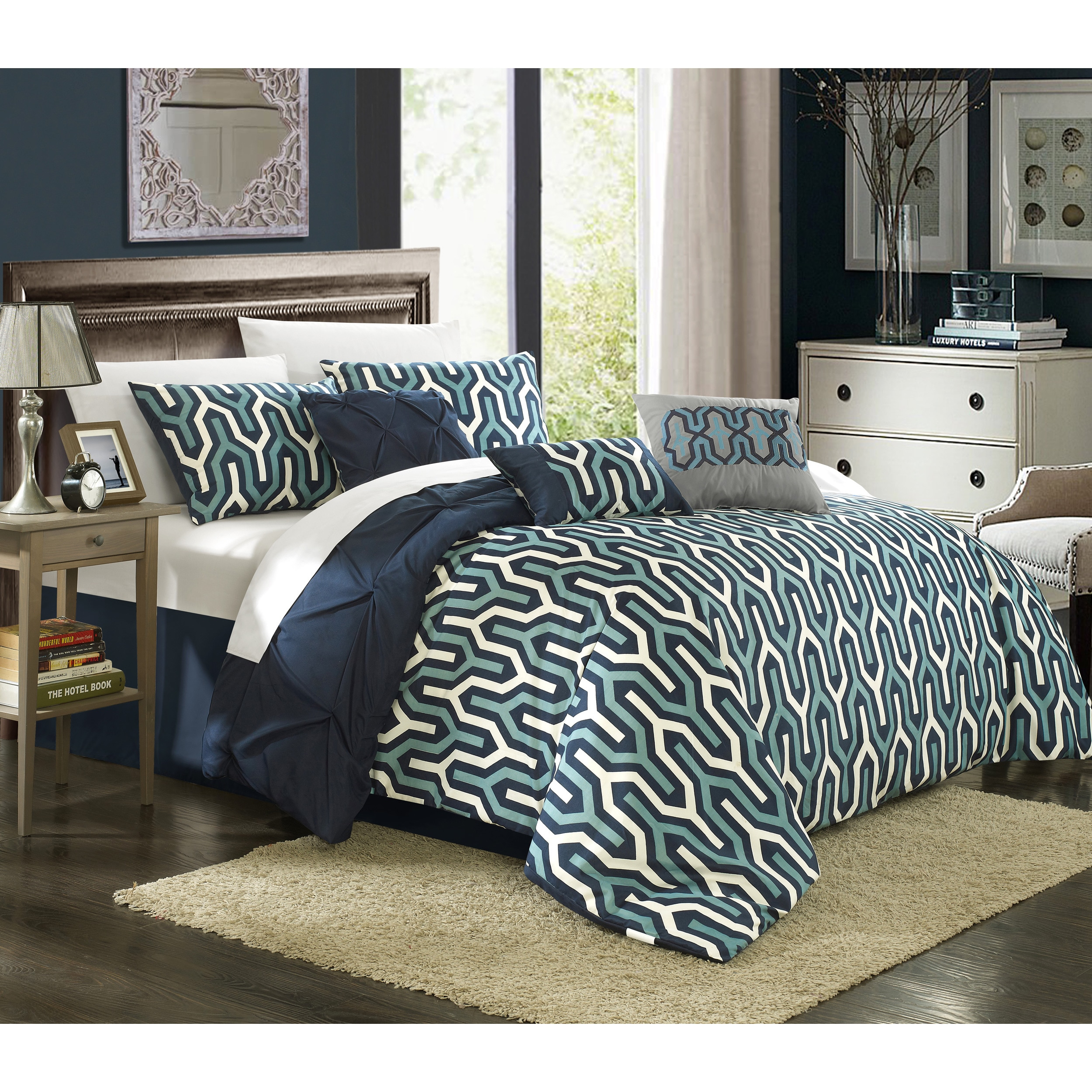 pintuck pleat piece comforter blue bed set king ga queen nwt navy to pinch pc new fabulous sunshiny garage
