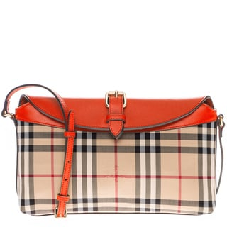 Burberry Horseferry Check Small Leah Orange/ Beige Clutch Bag