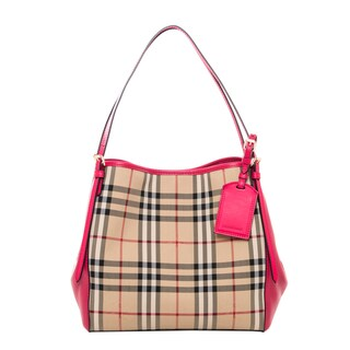 Burberry Horseferry Check/ Pink Leather Canter Small Handbag