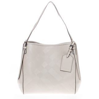 Burberry White Soft Check Embossed Leather Small Canter Handbag