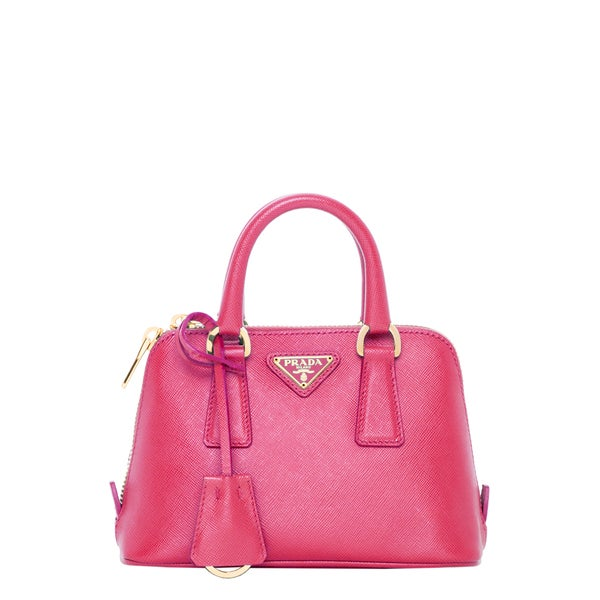 Prada Mini Lux Saffiano Pink Dome Bag