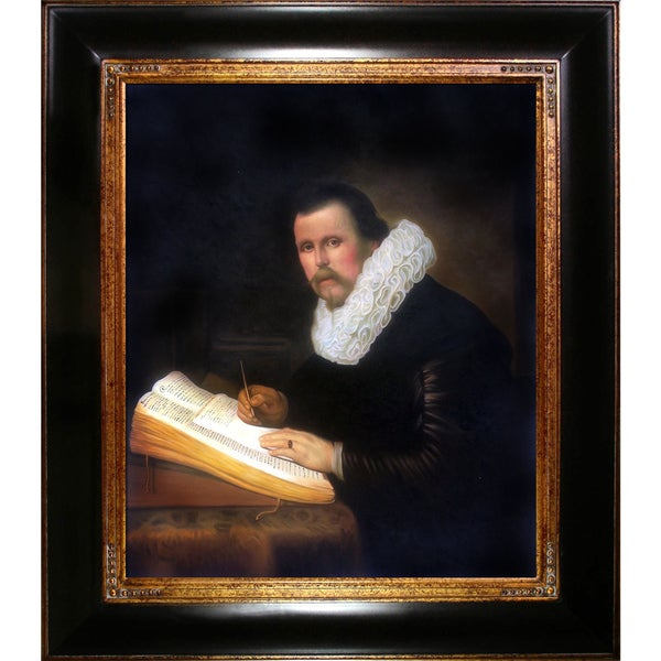 Rembrandt 'A Scholar' Hand Painted Framed Canvas Art
