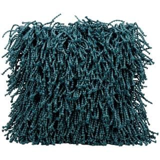 """Mina Victory by Nourison Shag Teal Pillow (14""""x20"""")"""
