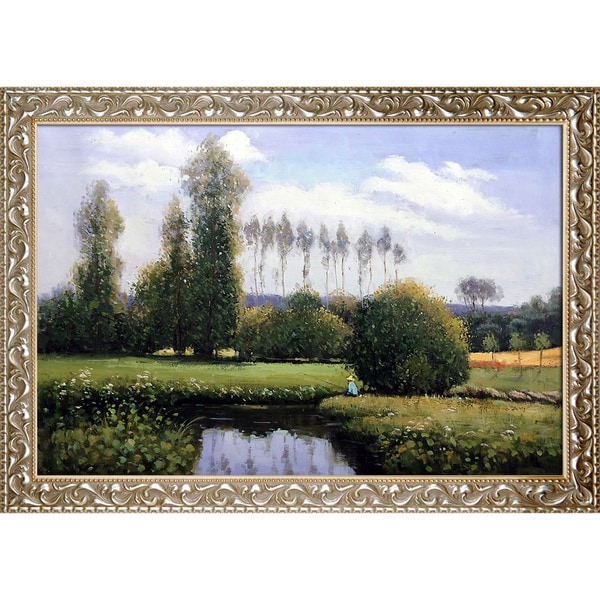 Claude Monet 'View at Rouelles Le Havre' Hand Painted Framed Canvas Art