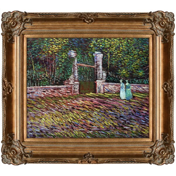 Vincent Van Gogh 'Enterance to the Voyer-d'Argenson Park at Asnieres' Hand Painted Framed Canvas Art