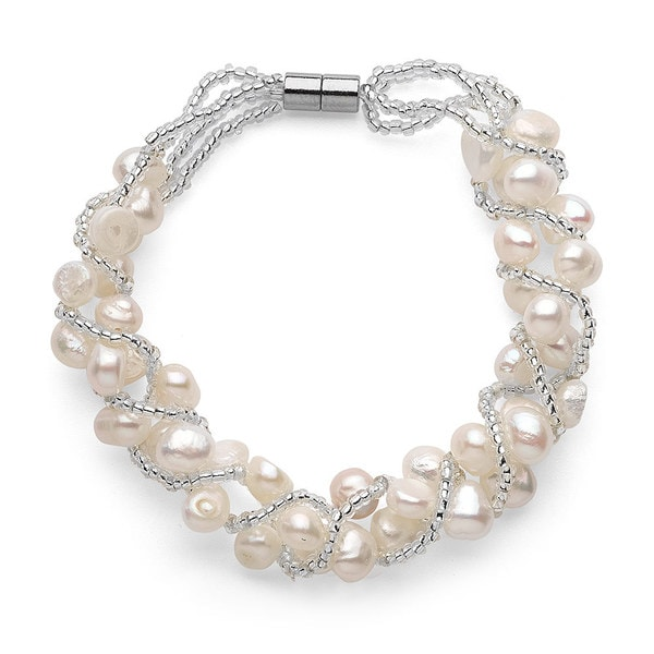 Freshwater Pearl Magnetic Clasp Woven Bracelet (5-7mm)