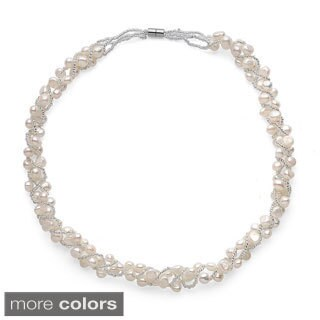 Freshwater Pearl Magnetic Clasp Woven Necklace (5-7mm)