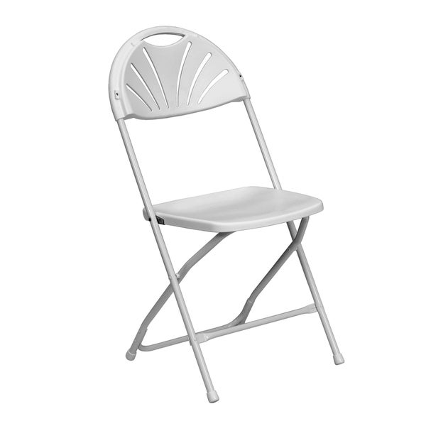 Lily White Contoured Fan Back Folding Chairs