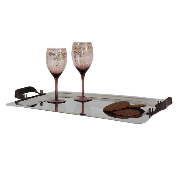 Pampa Bay 23-inch Stainless Steel Oval Tray with Chocolate Handles