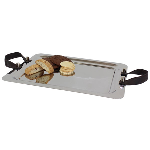 Pampa Bay 20-inch Stainless Steel Tray with Chocolate Handles