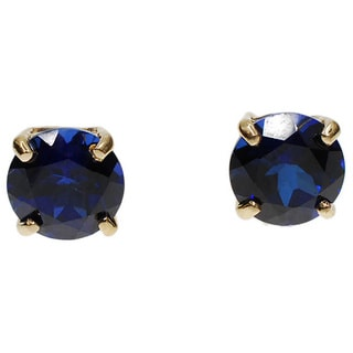 Kabella 14k White Gold Created Sapphire Solitaire Stud Earrings