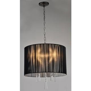 Artiva USA Elina 5-light Black Chrome Crystal Chandelier with Black Threaded Silk Shade