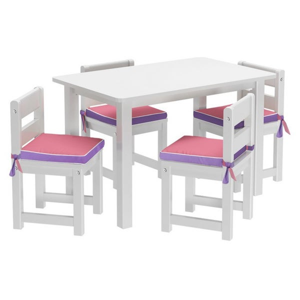 Maxtrix Kids Playtime 36 Play Table with Four Chairs with Reversible Purple/ Pink Seat Pads