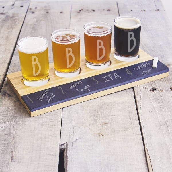 Personalized Bamboo and Slate Craft Beer Tasting Flight Board