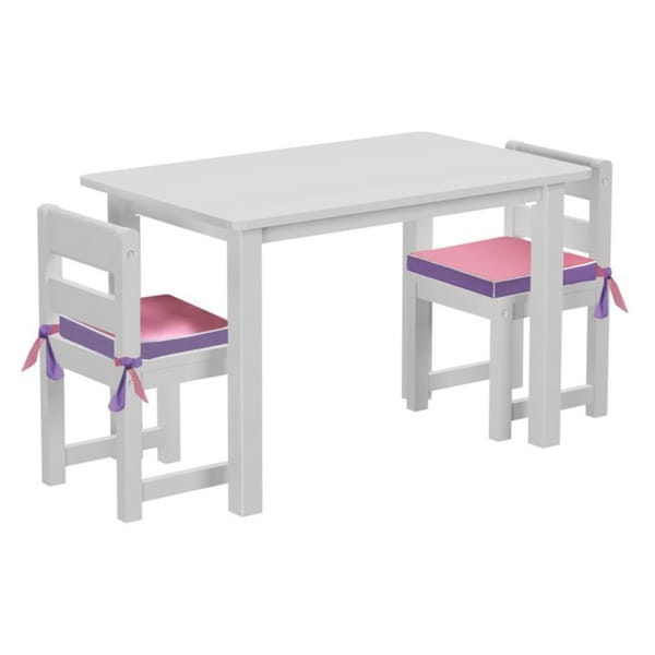 Maxtrix Kids Teatime 36 Play Table with Two Small Chairs with Reversible Purple/ Pink Seat Pads