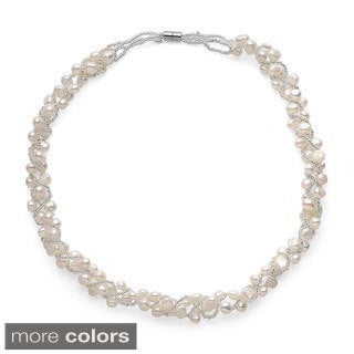 Sterling Silver Multi-colored Freshwater Pearl Woven Necklace (5-7mm)