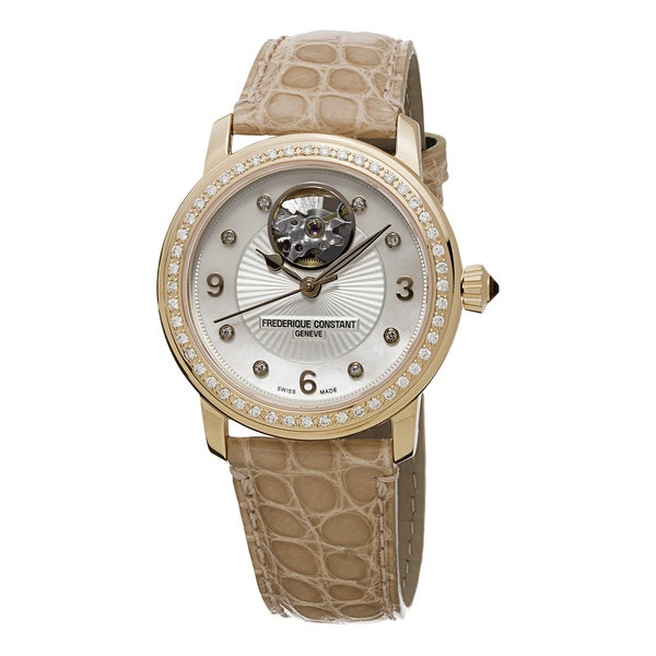 Frederique Constant Women's FC-310HBAD2PD4 'Ladies Automatic' Mother of Pearl Diamond Dial Beige Leather Strap Automatic Watch