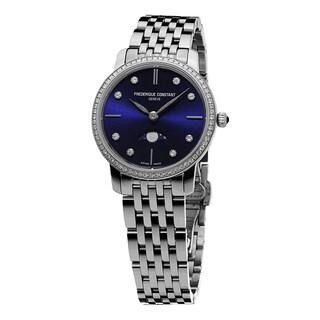 Frederique Constant Women's FC-206ND1SD26B 'Slim Line' Blue Diamond Dial Stainless Steel Diamond Quartz Watch