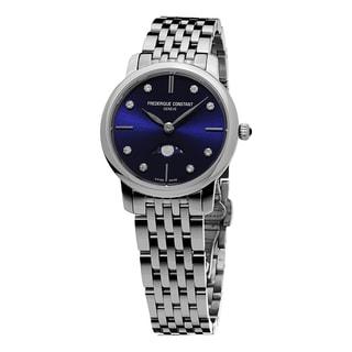 Frederique Constant Women's FC-206ND1S26B 'Slim Line' Blue Diamond Dial Moon phase Stainless Steel Quartz Watch