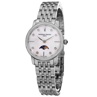 Frederique Constant Women's FC-206MPWD1S6B 'Slim Line' Mother of Pearl Dial Stainless Steel Moon Phase Watch