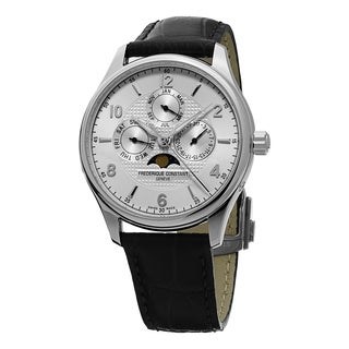 Frederique Constant Men's 'RunAbout' Silver Dial Black Leather Strap Date/Day Automatic Watch