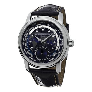 Frederique Constant Men's FC-718NWM4H6 'World timer' Blue Dial Blue Leather Strap Swiss Automatic Watch