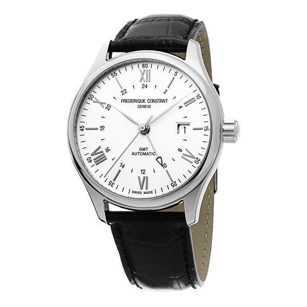 Frederique Constant Men's FC-350S5B6 'Classics' Silver Dial Black Leather Strap GMT Automatic Watch