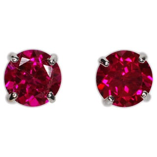 Kabella 14k Gold Created Ruby Round Solitaire Earrings