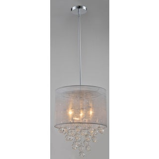 Artiva USA Charlotte Silver Textured Silk Shade 3-Light Chrome Crystal Chandelier with Bubbles Glass Ball