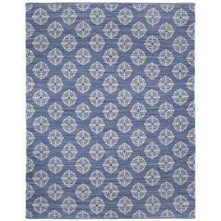 Blue Medallion Cotton Jacquard (10'x14') Rug