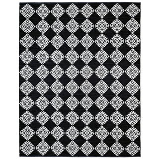 Black Medallion Cotton Jacquard (10'x14') Rug