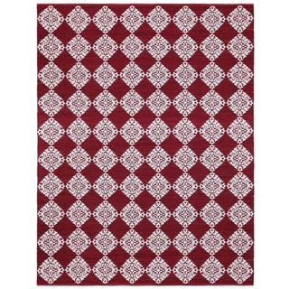 Red Medallion Cotton Jacquard (10'x14') Rug