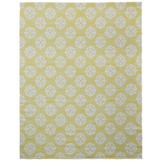 Yellow Medallion Cotton Jacquard (10'x14') Rug