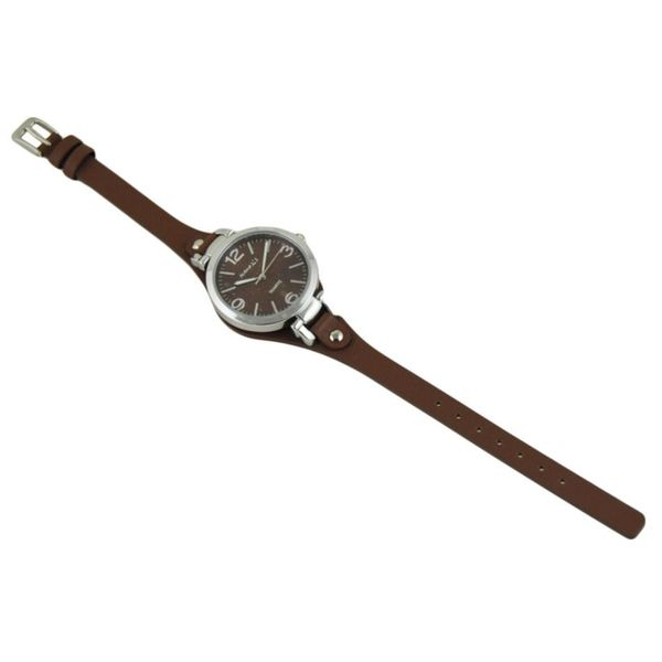 Nemesis Brown/Silver 'Classy' Womens Watch with Brown Leather Band