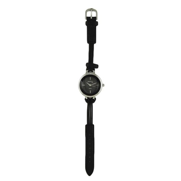 Nemesis Black/Silver Delicate Essential Womens Watch with Black Leather Band