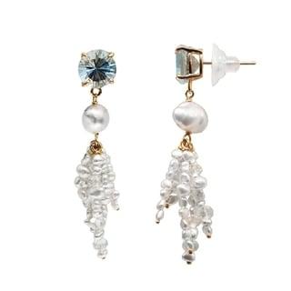 18k Yellow Gold Keshi Pearl and Blue Topaz Dangle Earrings (7-mm)