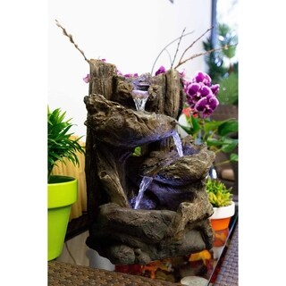 Tiered Log Fountain with LED Lights